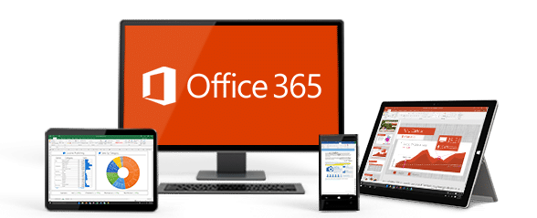 Photo de différents supports écran d'ordinateur, tablette, portable, avec Microsoft Office 365