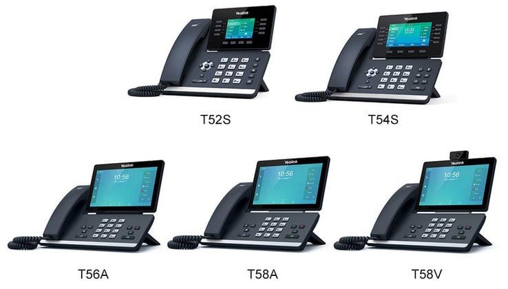 Exemples de téléphones compatibles voix sur IP avec 3CX : les modèles T52S, T54S, T56A, T58A, T58V
